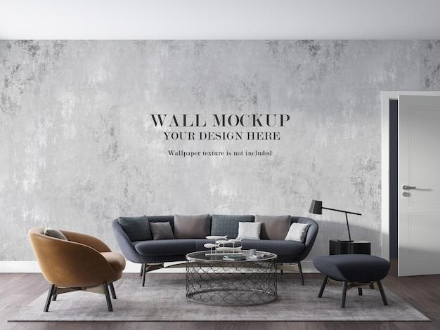Mockup della parete del salotto moderno con mobili