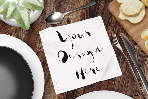 Mockup of napkin on table mockup