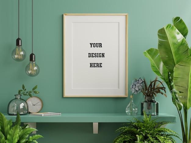Mockup photo frame sullo scaffale verde con bellissime piante, rendering 3d
