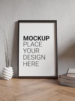 Mockup di cornice per foto per mockup in soggiorno