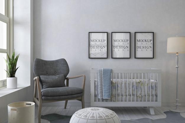 Cornici per foto mockup nella stanza del bambino bianco con poltrona grigia