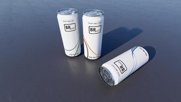 Immagine mockup del rendering 3d di lattine bianche e argento. livello di oggetti intelligenti per personalizzare il tuo design.