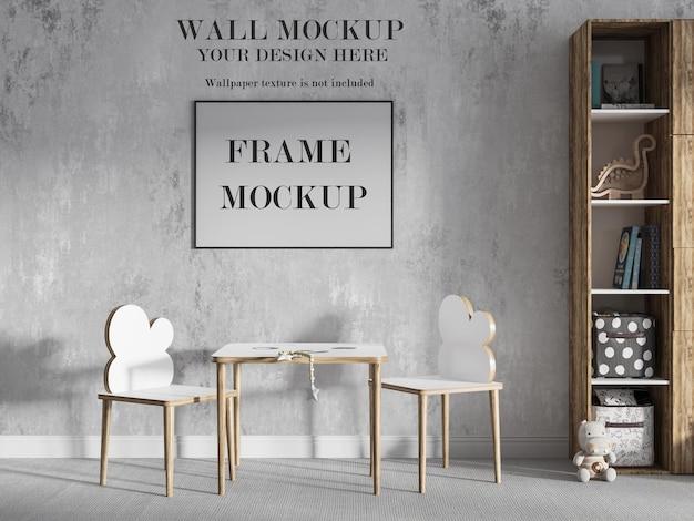 Mockup di parete della stanza dei giochi e design della cornice