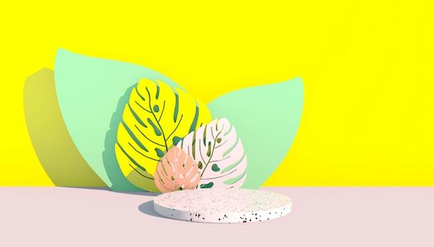 Mockup, podio, display con foglie di monstera sfondo di piante tropicali, rendering 3d