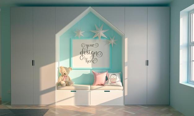 Camera di colore blu per bambini poster mockup con tre stelle appese