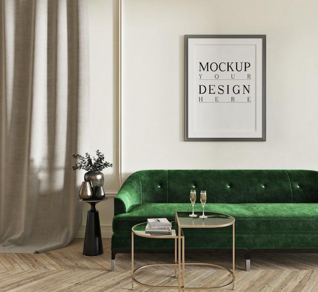 Poster di mockup nel classico salotto con divano