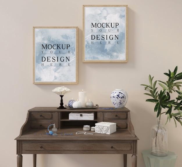 Mockup poster su consolle con decorazione