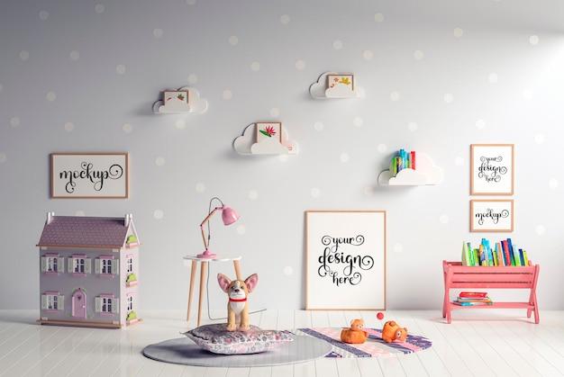 Mockup poster frame in camera dei bambini mockup della scuola materna della camera dei bambini
