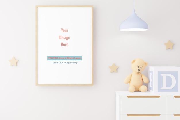 Mockup poster frame in camera dei bambini mockup in rendering 3d