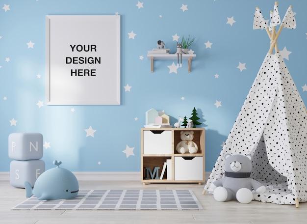 Fotogramma poster mockup nel rendering camera bambini
