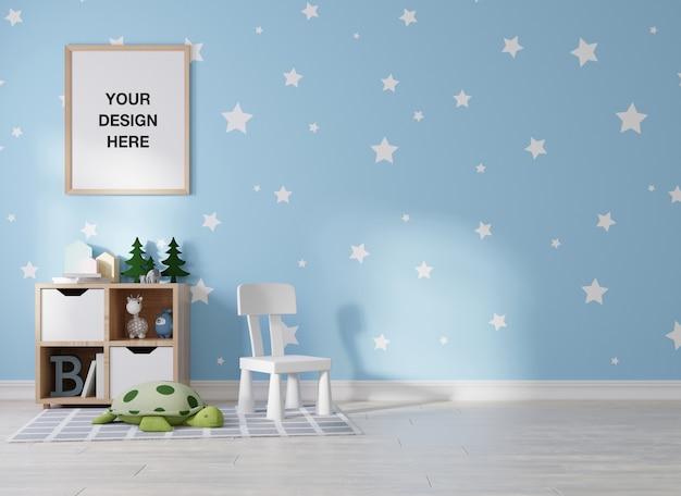 Mockup poster frame in camera dei bambini