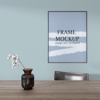 Mockup poster frame close up sulla parete