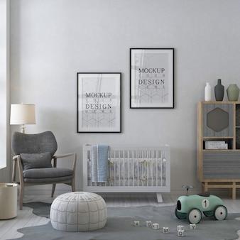 Cornice per poster mockup nella stanza della scuola materna bianca contemporanea