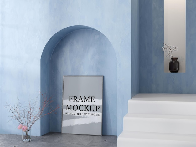 Mockup poster frame in cycladic interior