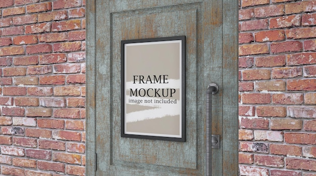 Mockup poster frame sulla porta
