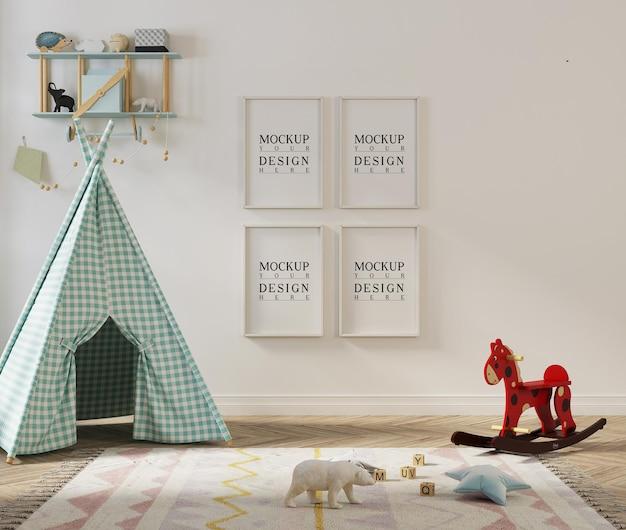 Fotogramma poster mockup nella sala giochi per bambini con tenda
