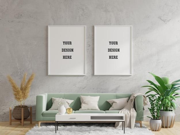 Cornice per poster mockup in interni moderni