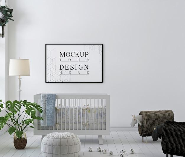Cornice per poster mockup nella moderna stanza dei bambini bianchi