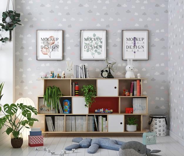Mockup del fotogramma poster nella stanza della scuola materna con i libri