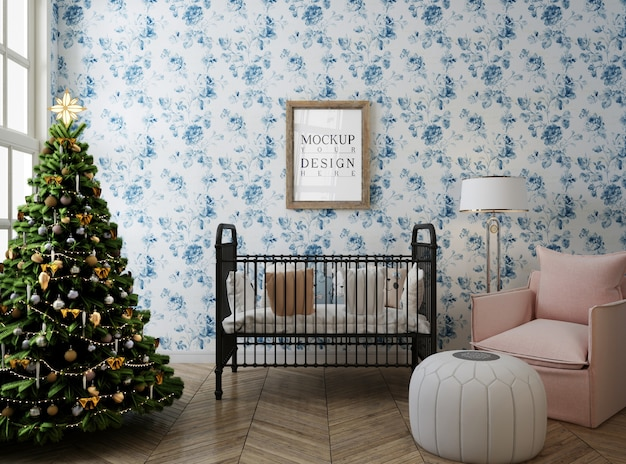 Mockup poster frame in nursery room con albero di natale e decorazioni
