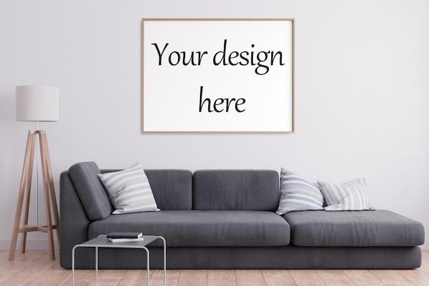 Cornice per poster mockup in interni in stile