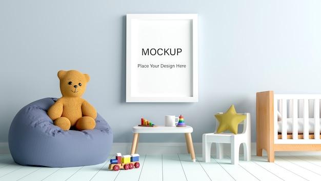 Mockup poster frame con simpatico orsacchiotto per un rendering 3d di baby shower ragazzo