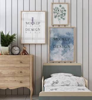 Fotogrammi di poster mockup nella moderna camera da letto per bambini contemporanea