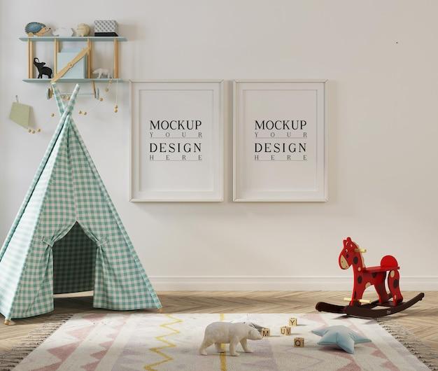 Poster di mockup nella sala giochi per bambini con tenda