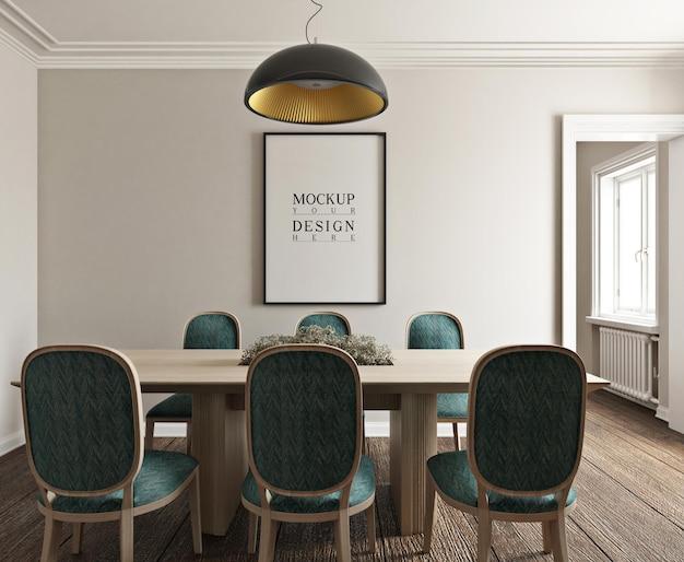 Poster di mockup nella moderna sala da pranzo fotorealistica classica Psd Premium