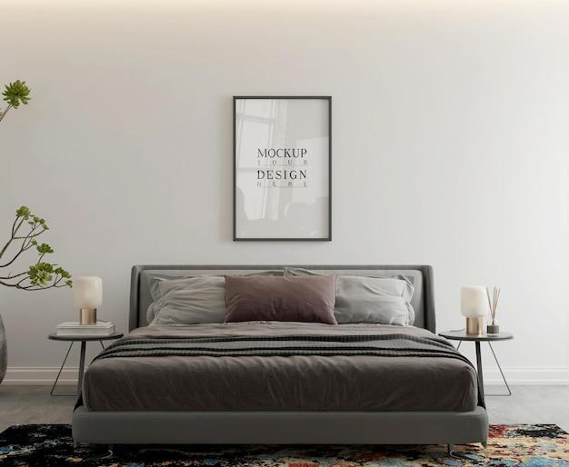 Poster mockup in camera da letto moderna contemporanea