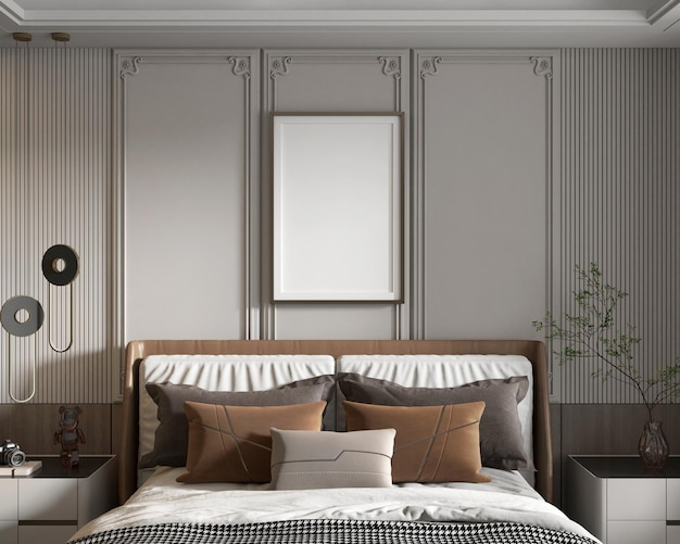 Poster di mockup in una moderna camera da letto minimalista