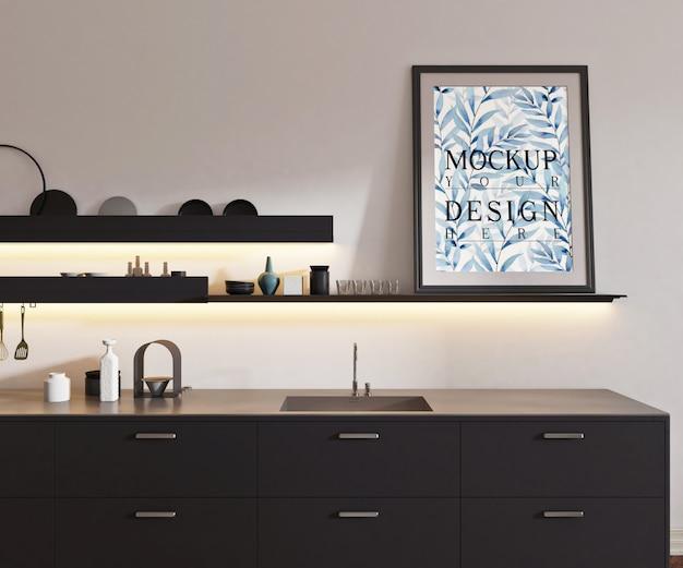 Mockup poster nella moderna cucina aperta