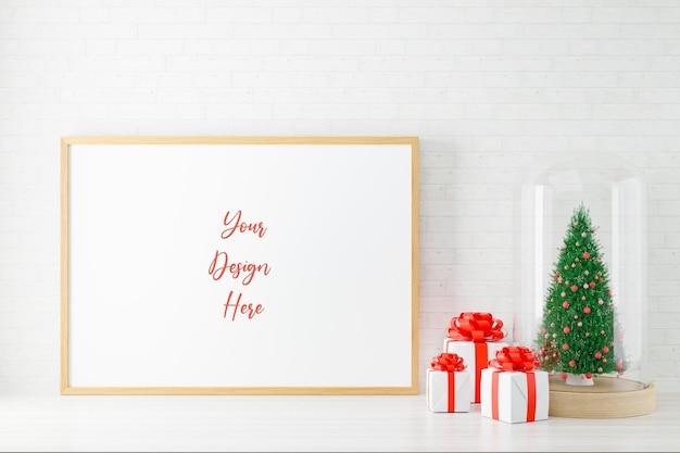 Cornice per poster mockup con decorazioni natalizie. rendering 3d.