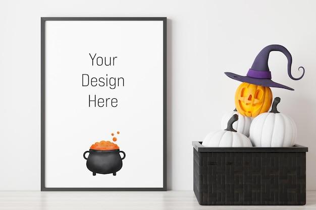 Mockup poster e cornice per foto con decorazione del festival di halloween