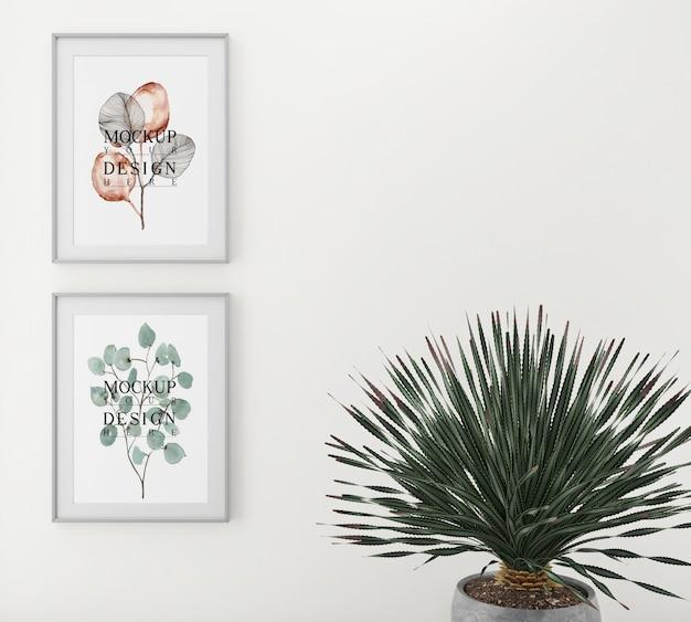 Poster di mockup con fioriera