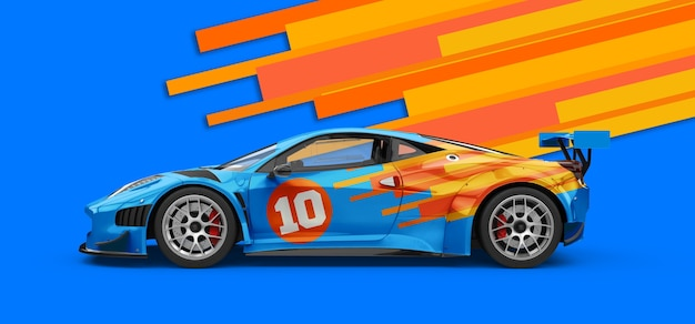Mockup di un'auto sportiva blu di lusso potente