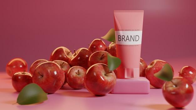 Mockup product design apple bianco perlato aura uv psd, modello 3d render.