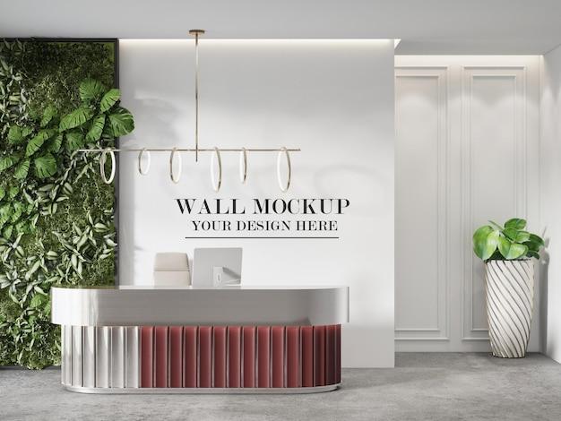 Mockup reception con parete verde