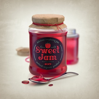 Mockup di un barattolo di marmellata rossa con un cucchiaio e un'etichetta rotonda