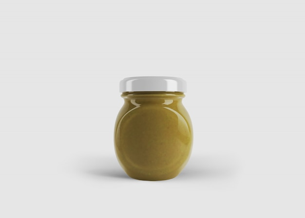 Mockup di marmellata rotonda o barattolo di salsa con etichetta personalizzata in scena studio pulito
