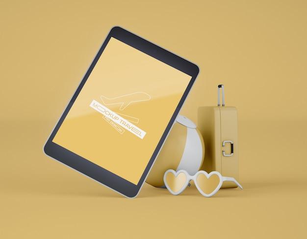 Mockup di schermo tablet digitale. viaggio estivo e concetto di viaggio.