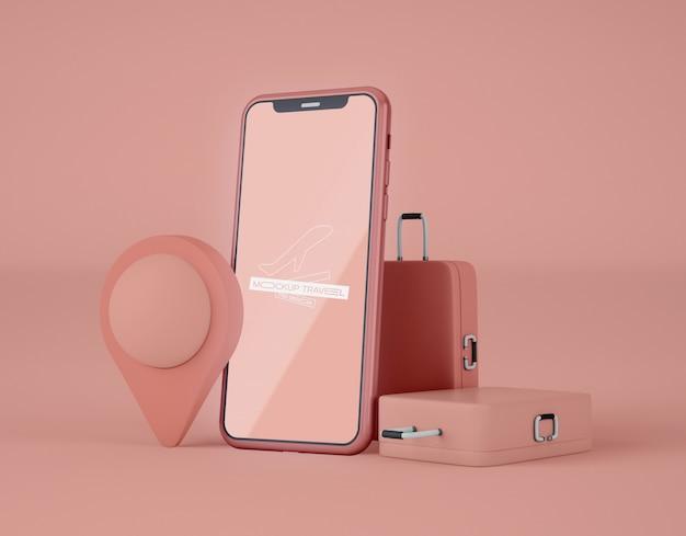 Mockup di smartphone con schermo. viaggio estivo e concetto di viaggio.