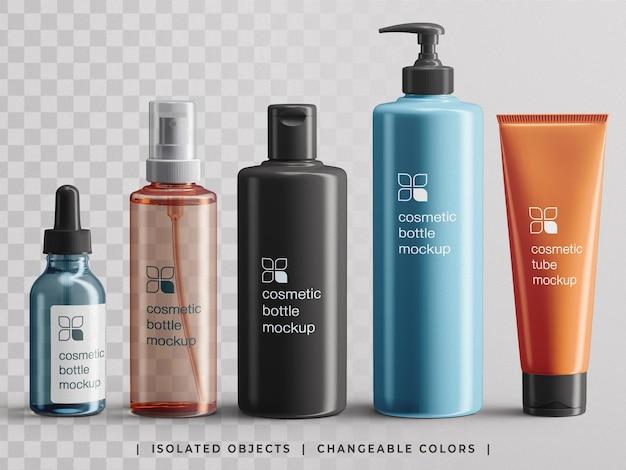 Set di mockup di creatore di scene di confezionamento di bottiglie di prodotti cosmetici con marchio di bellezza isolato