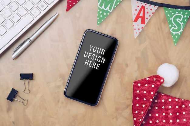 Smartphone mockup per buon natale e felice anno nuovo
