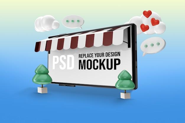 Mockup per lo schermo dello smartphone per lo shopping online