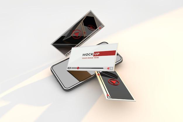 Mockup smartphone concetto di interfaccia del lettore video