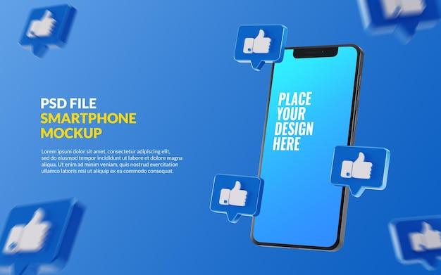 Smartphone mockup con mi piace di facebook sulla chat bolla