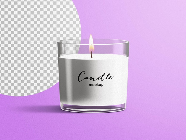 Mockup di spa profumo profumo candela candela di vetro isolata