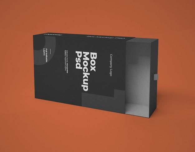 Mockup di scatola quadrata diapositiva con colori modificabili e livelli modificabili
