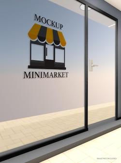 Mockup di pareti in vetro del negozio